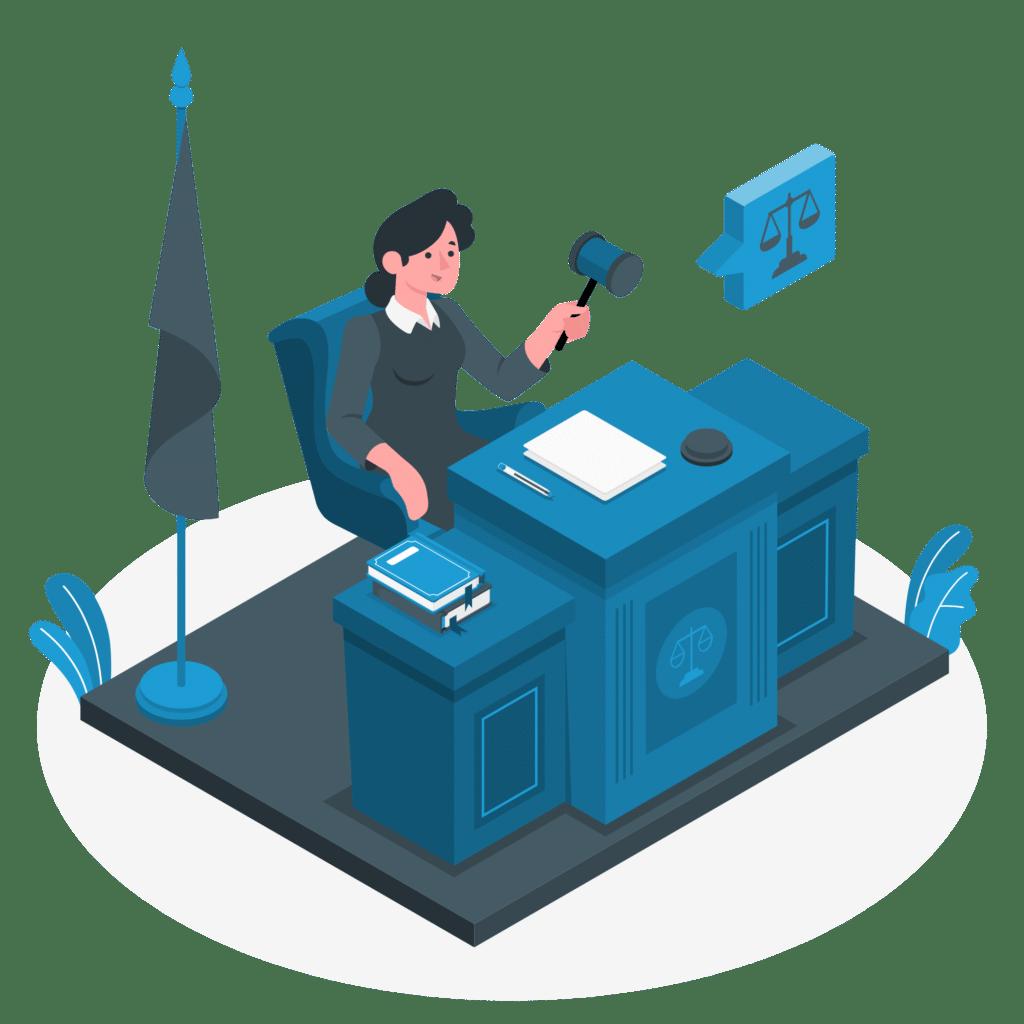 Illustration du bureau du juge