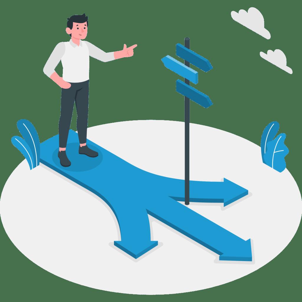 Personnage debout sur une flèche bleue avec plusieurs directions