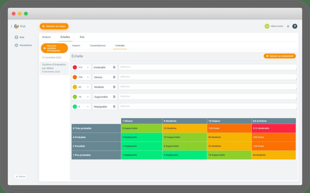 Capture d'écran du logiciel Pyx4 Risk - Déclarer un risque