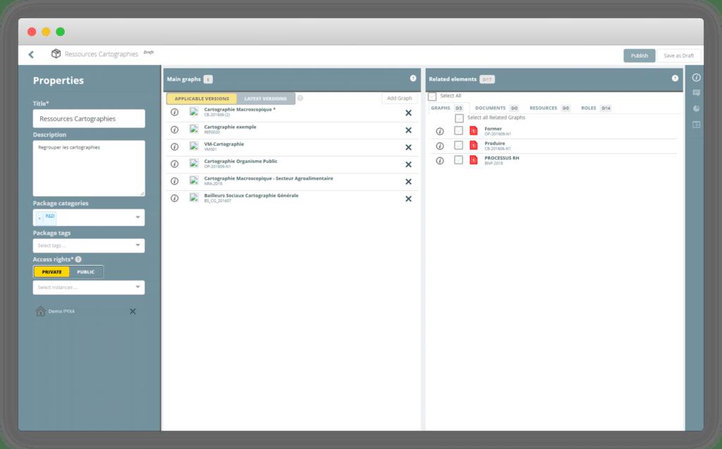 Capture d'écran du logiciel Pyx4 Ressources cartographes