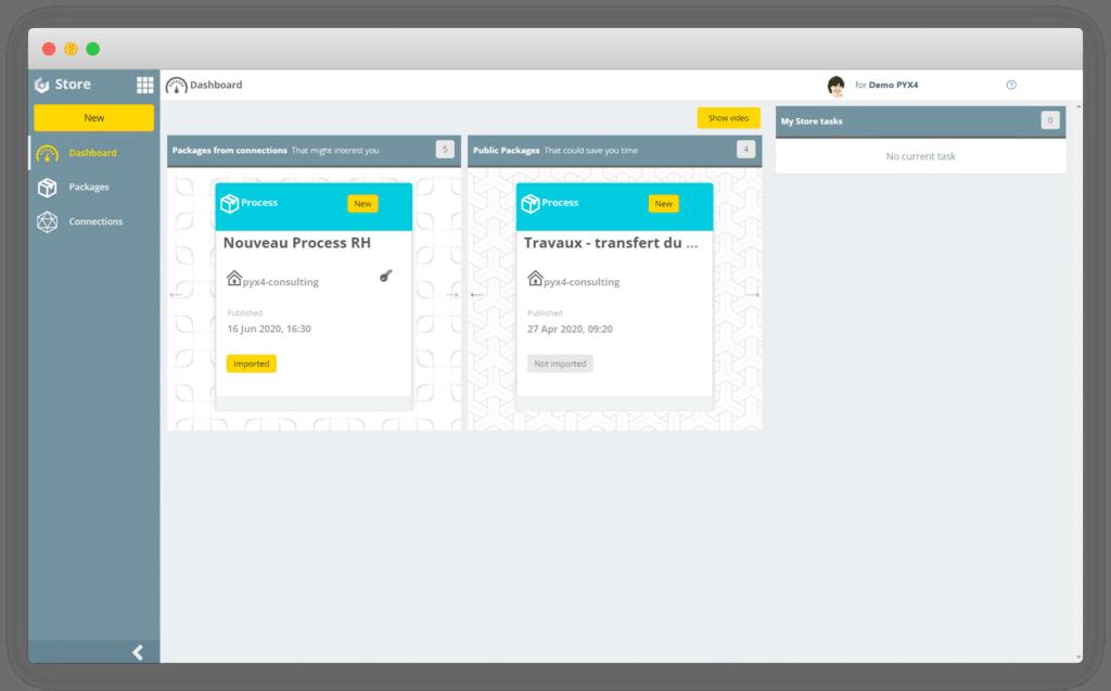 Capture d'écran du module Store pour le logiciel Pyx4
