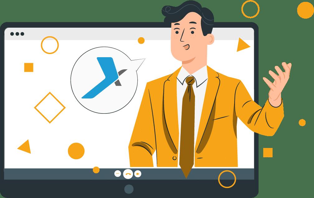PYX4 - Visuel rencontre en ligne avec intervenant orange